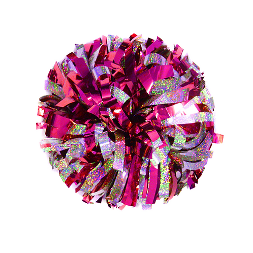Metallic Holographic Silver and Metallic Fuchsia Pink 6″ Pom