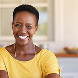 Mature happy woman smiling and looking a