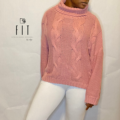 FIT Oversized Turtleneck Sweater | Pretty Pink
