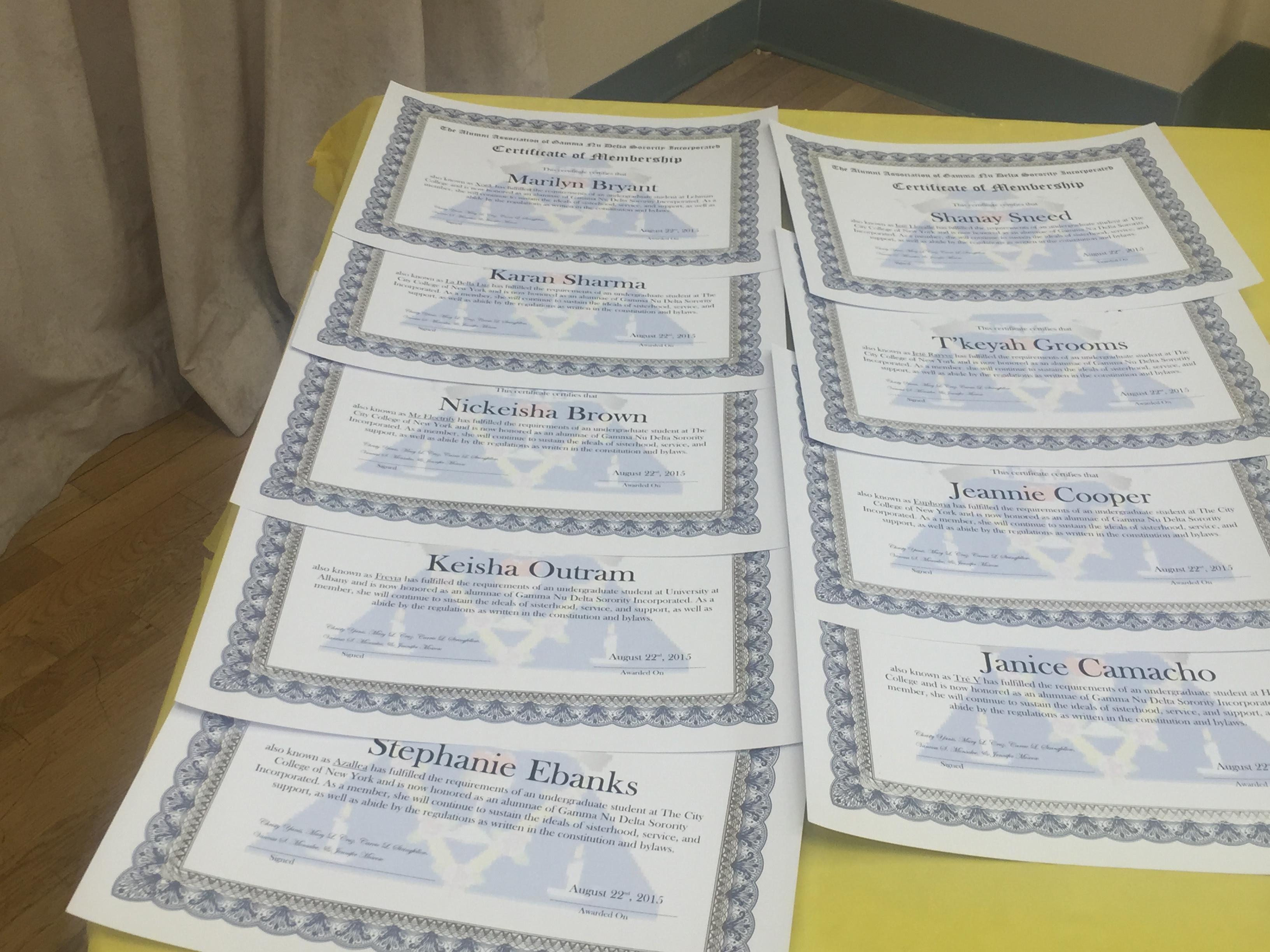 Alumni Certificates!