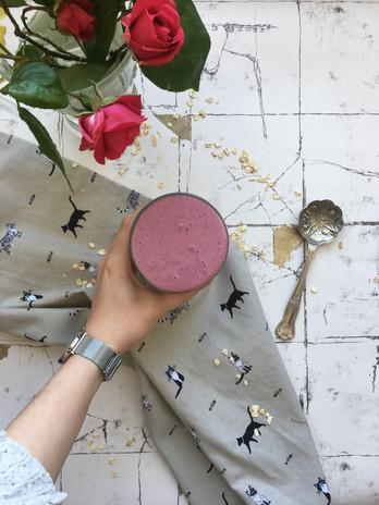 Pink berry smoothie.JPG