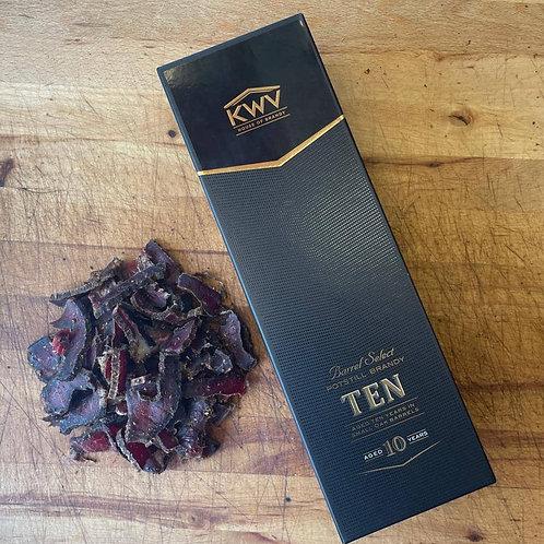 KWV Brandy and 250g Sliced Peri Peri Biltong