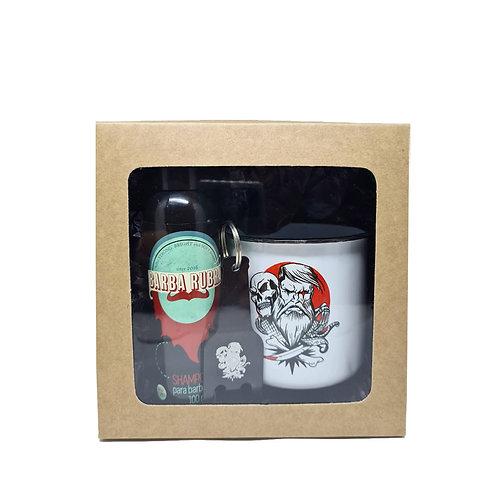 Kit Under Beard: Caneca Old School + Shampoo Barba Rubra