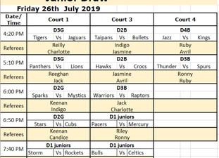 Updates & Jnr Draw 26/07