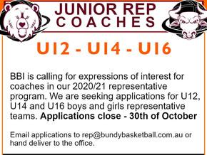Junior Rep Coaches - Apply Now...