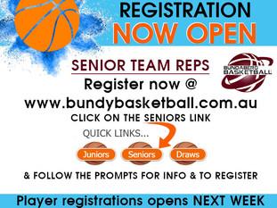 Senior Team Registrations OPEN