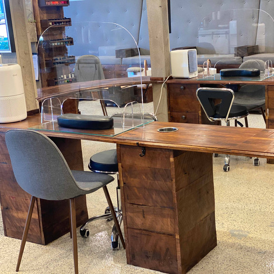 Manicure tables with shields