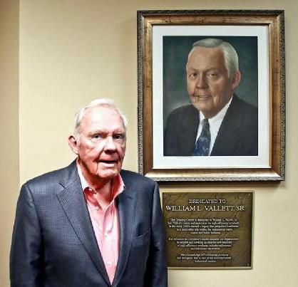 Bill Vallett appears at the dedication of the William Vallett Sr. Training Center in 2014. Vallett passed away May 4.