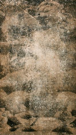Litografia, colografia e xilografia sobre papel artesanal coreano. Tamanho: 183 cm x 121 cm