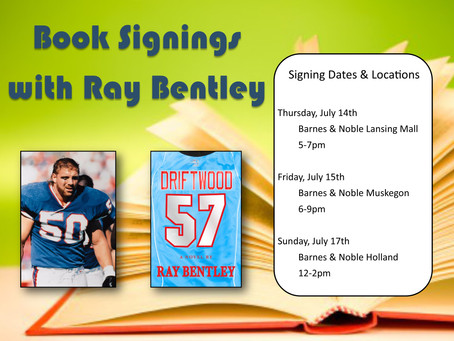 Trio of Michigan Barnes & Noble book signings scheduled with Ray Bentley in July
