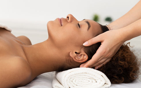 Relaxing Massage. Afro Woman Receiving H