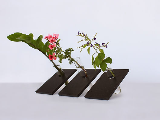 black bohemica test tube & recycled wood vase by shinshin studio tel aviv