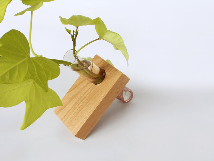 beech wood bohemica test tube & recycled wood vase by shinshin studio tel aviv