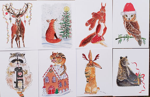 Set of 8 assorted Fun Woodland Christmas/Holiday 4.25 x 5.5  flat cards & Enve