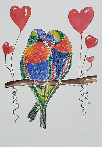 Original watercolor illustration,  valentine's illustration,  love birds, 7x10,