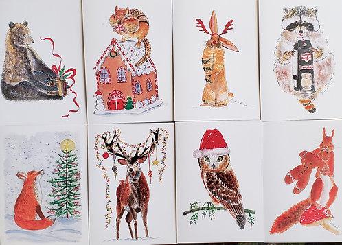Set of 8 assorted Fun Woodland Christmas/Holiday 5x7 Folded cards & Envelopes.