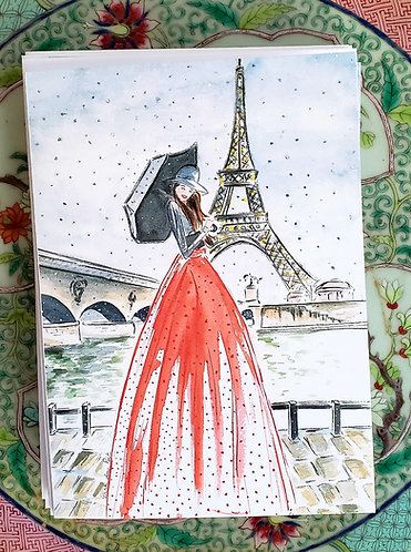 Set of 8 French Girl in Paris Folded 5x7 Christmas Cards with Envelopes