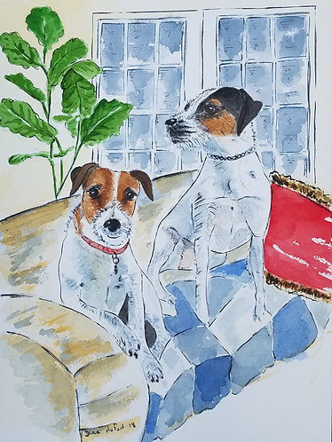 """Custom Dog illustration 9x12"""""""