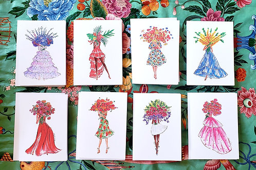 Set of 8 assorted Bouquet ladies folded cards 4.25x5.5