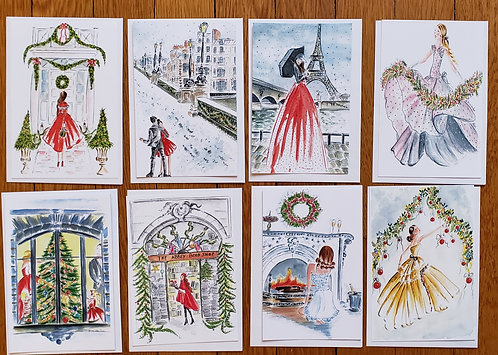 Set of 8 Assorted French Flair Flat 4x6 Christmas Holidays Cards