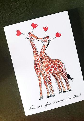 Giraffes/ Valentin/ Love/ Anniversary  Folded 5x7 card