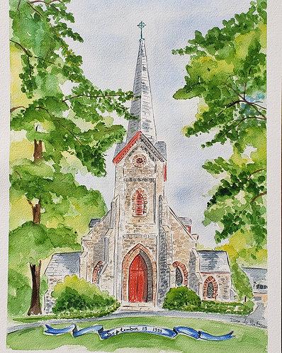 Church custom watercolor illustration