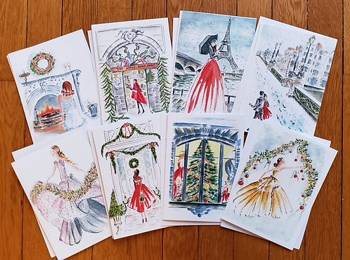 8 Assorted French Flair Folded 5×7 Christmas Cards with Envelopes