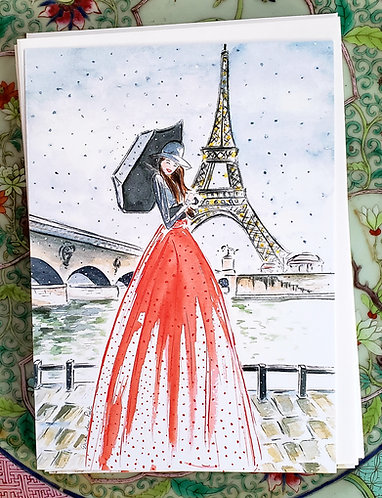 Set of 10 Flat Girl in Paris 5X7 cards with envelopes