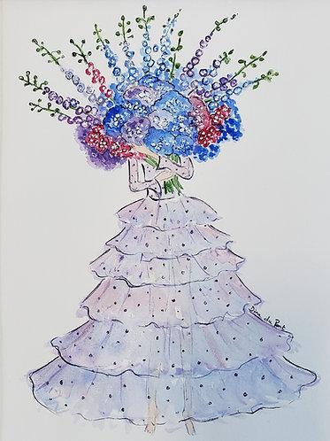 Original watercolor illustration,  Bouquet Lady, 9x12