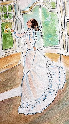 Original watercolor illustration,  woman dancing, 9x12