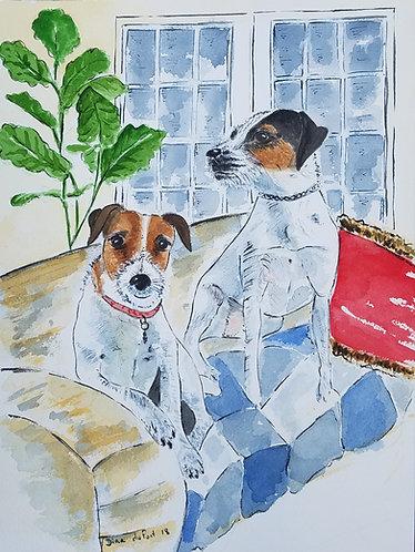 Custom Dog Illustration 10x14