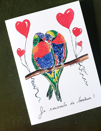 Love Birds/ Valentin/ Love/ Anniversary  Folded 5x7 card