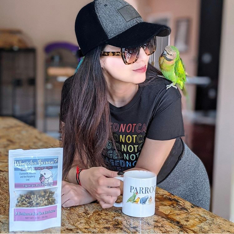Marlene Mc'Cohen, Mustache Parakeet, Brando. Whatcha Brewin Avian Tea from Posh City Pets.