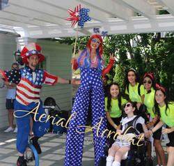 AAE Patriotic Unicyclist and Stilt Walke