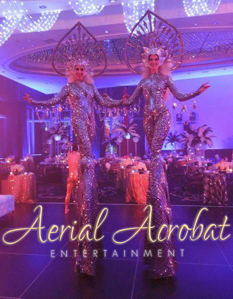 AAE Showgirl Stilt Walkers silver
