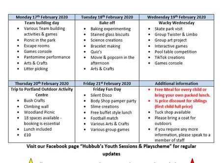 Hubbub's February 2020 Playscheme Timetable