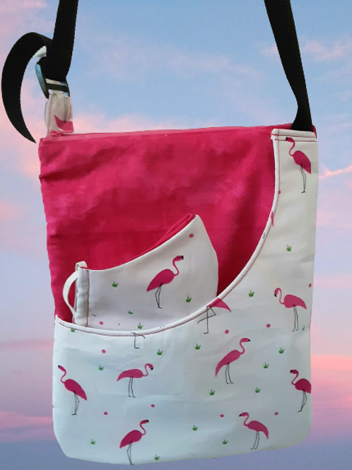 Flamingo shoulder bag with Mask