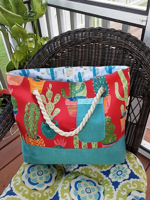 Camping Cactus Handbag - Red & Green