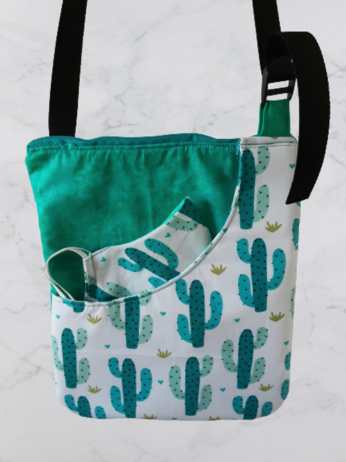 Cactus Crossed Bag with matching Mask