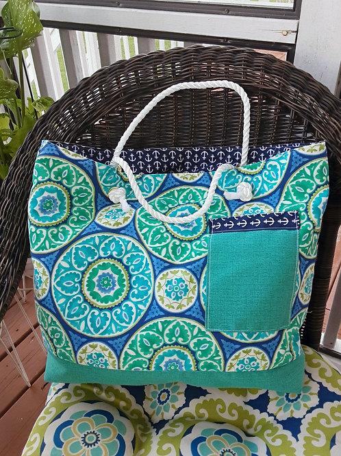 Special  Aqua-colors Canvas Handbag