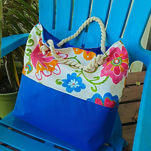 Flowers Canvas Beach Handbag