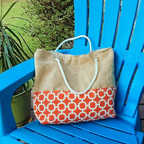 Sackcloth and Canvas Handbag - Orange pattern