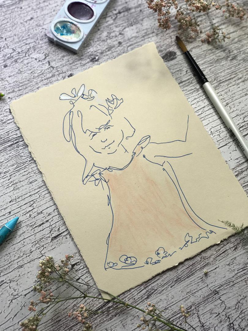 Shy Flower Girl drawn in just a few minutes!