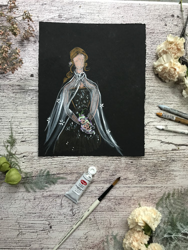 Bridal Portrait - drawn while she walked down the aisle