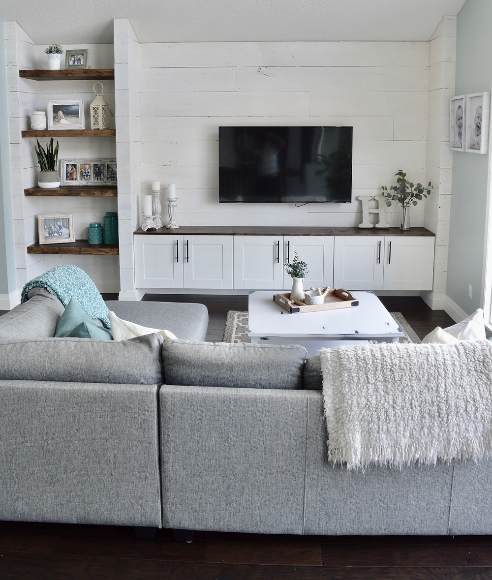 diy shiplap wall unit