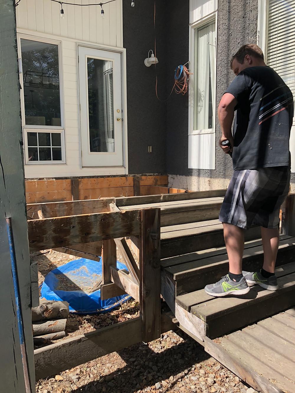 Unsafe Deck. Deck Demolition Day