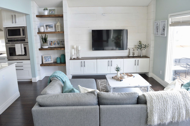 DIY SHIPLAP WALL UNIT REVEAL!