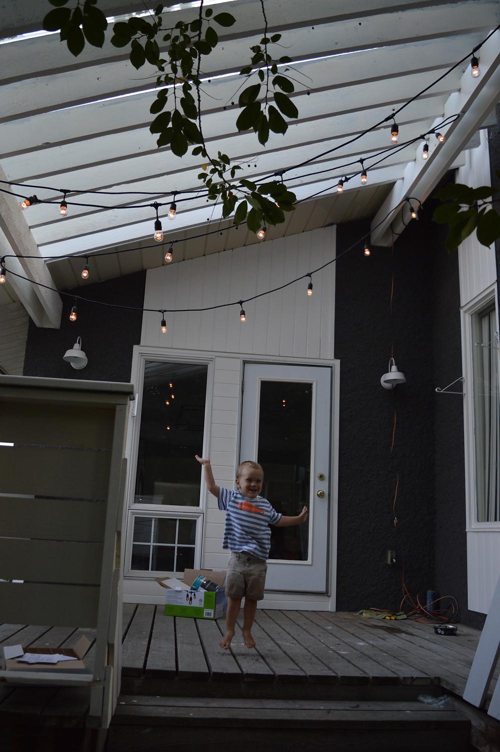 Garden Lights hung