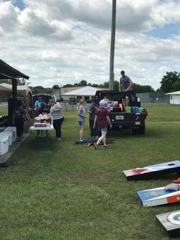 Great volunteers getting things ready