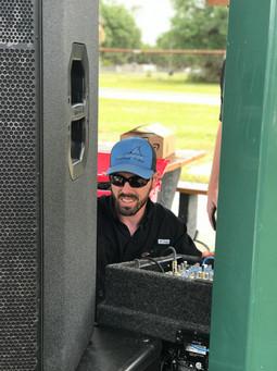 Brannon working on the sound